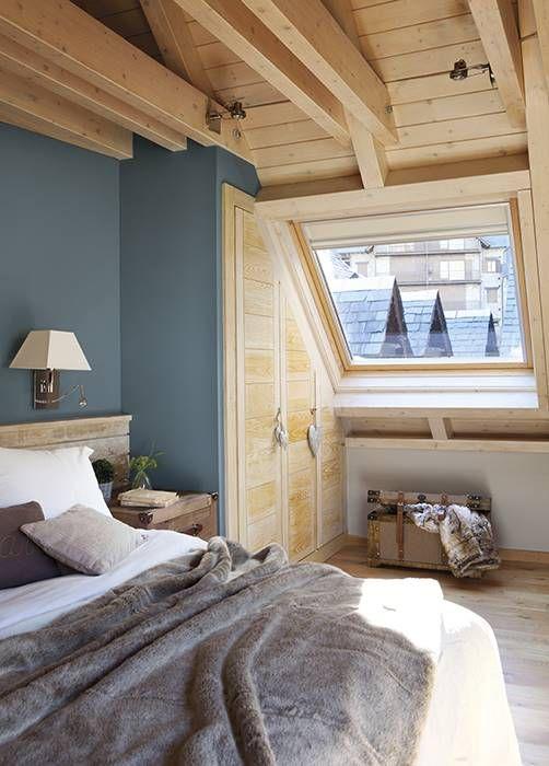 Inspiración habitaciones rústicas con color
