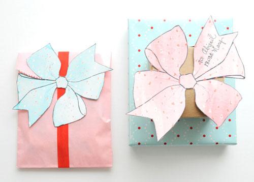 Ideas para envolver regalos: plantilla lazos