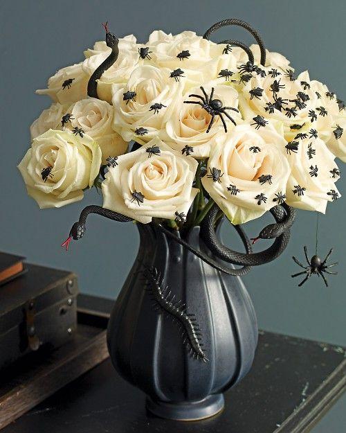 Como decorar un centro de flores en Halloween