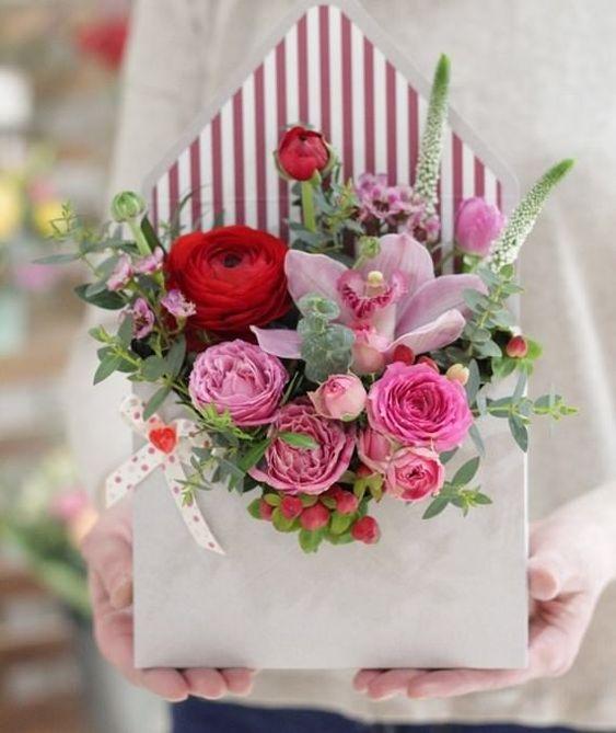 Flores en sobre para San Valentín