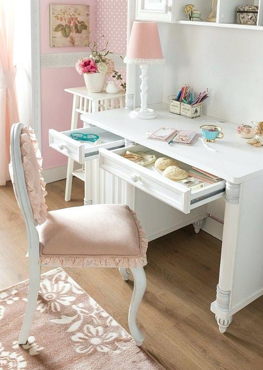 Muebles y decoración para habitaciones infantiles y juveniles románticas