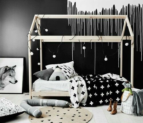 habitaciones infantiles en blanco y negro