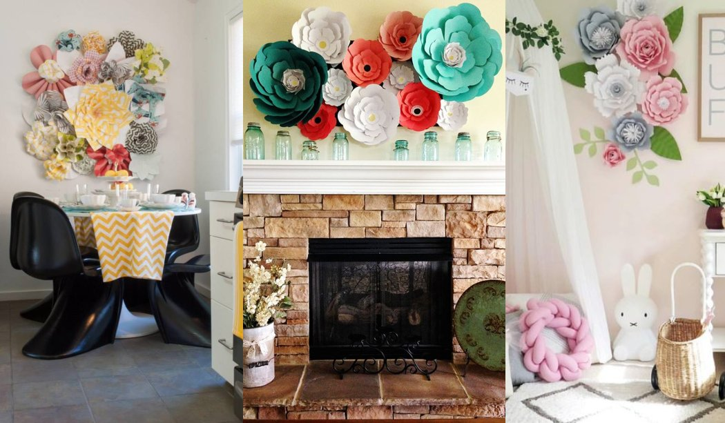 31 Ideas para decorar con flores de papel
