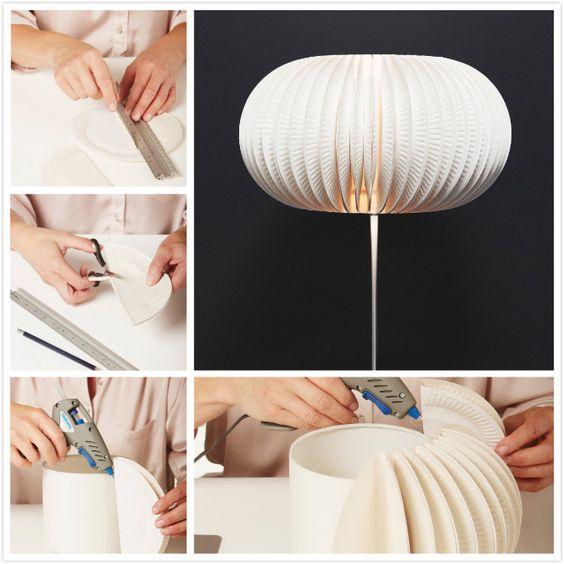 Lámpara con platos de papel