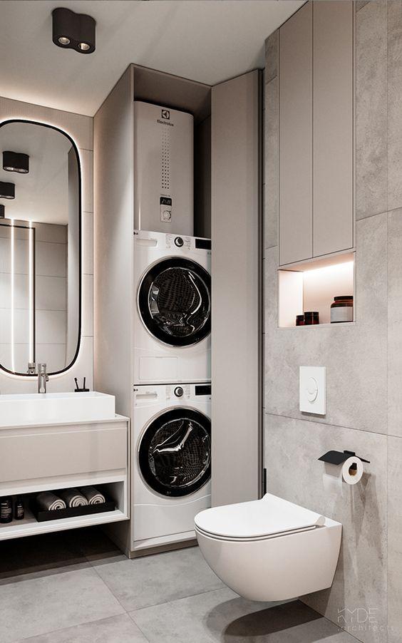 Baños con lavadora y secadora