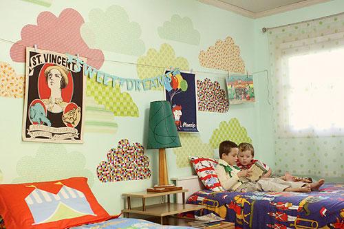 Ideas paredes infantiles: nubes de papel