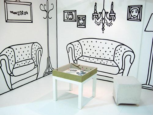 Arte en las paredes con cinta aislante