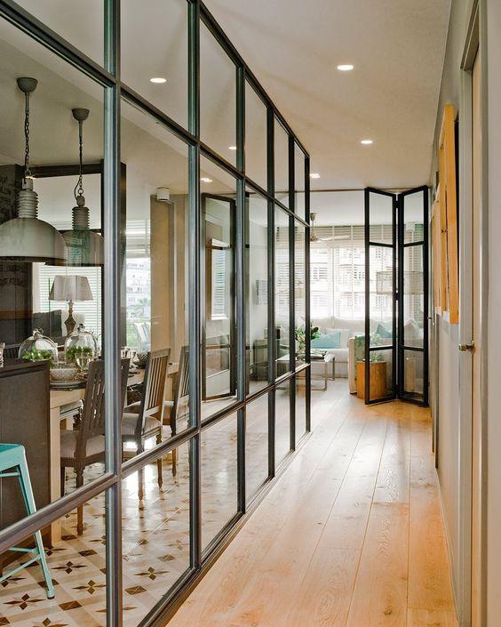Separar ambientes con paredes de cristal - Cristales para paredes ...