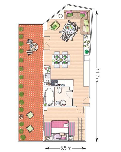 piso de 50 metros cuadrados