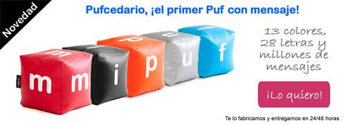 Pufcedario, pufs con letras