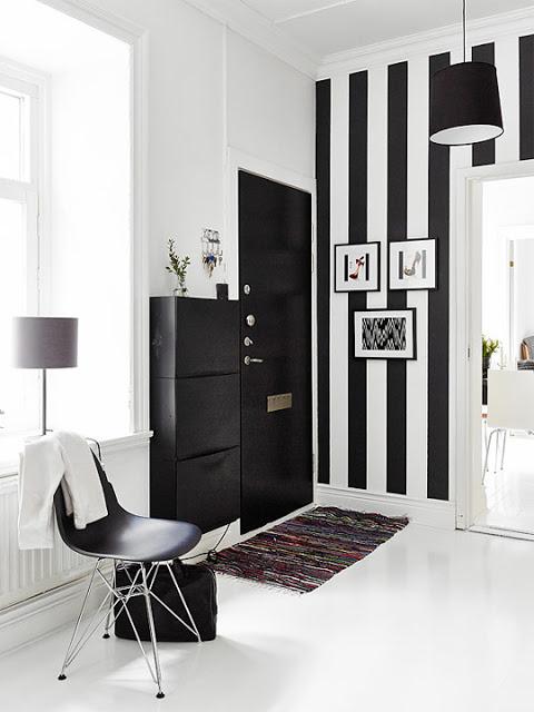 Recibidores a rayas blanco y negro