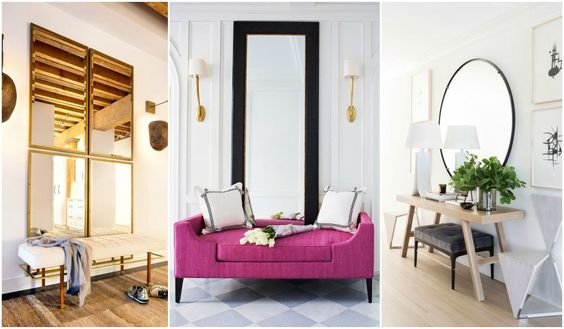Recibidores con espejo, decoración, + 30 FOTOS y consejos