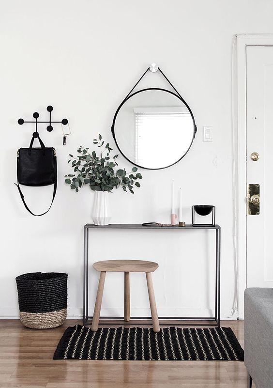 recibidores con espejos redondos
