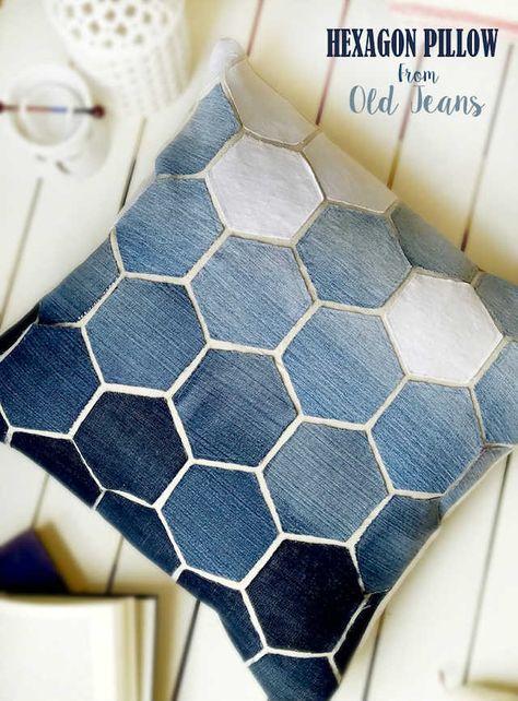 Cojines fabricados a partir de jeans