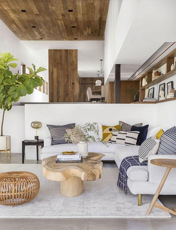 Salones en blanco y madera