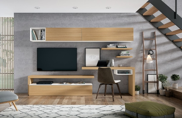 mueble salon con escritorio integrado
