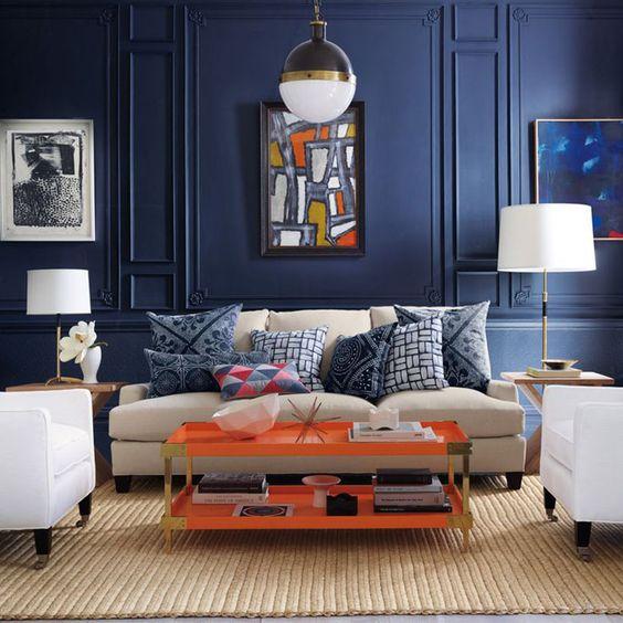 Salón azul oscuro