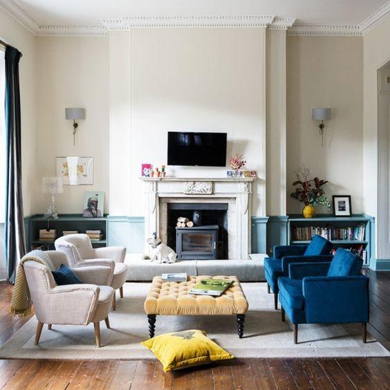 Salón beige y azul