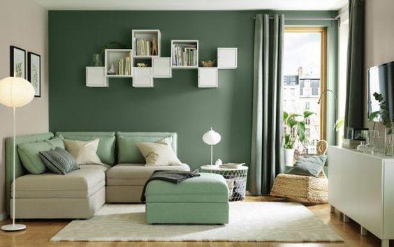 Living beige y verde