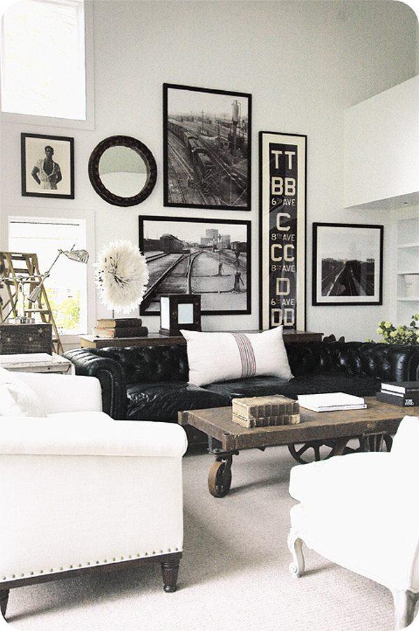 Salones en blanco y negro de estilo nórdico