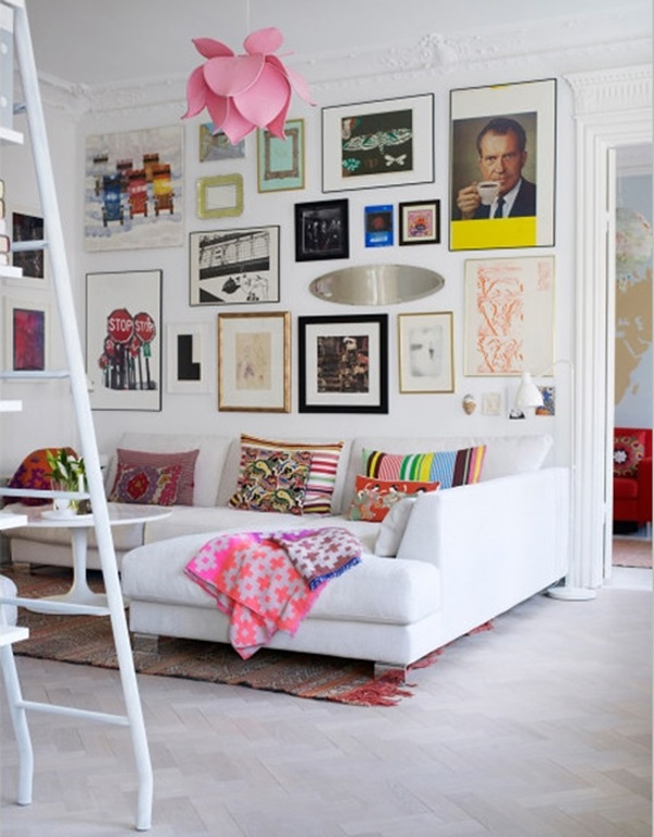 Salones en blanco con pinceladas de color