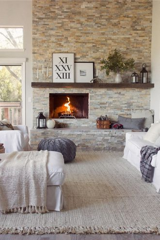 diez salones con pared de piedra - Decorar Paredes