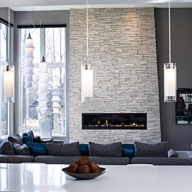 Diez salones con pared de piedra decofaci n hogar - Salones decorados con piedra ...