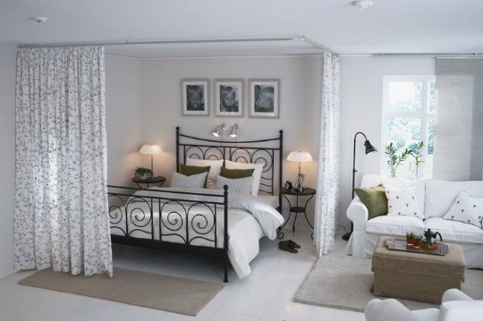 Separar espacios con cortinas