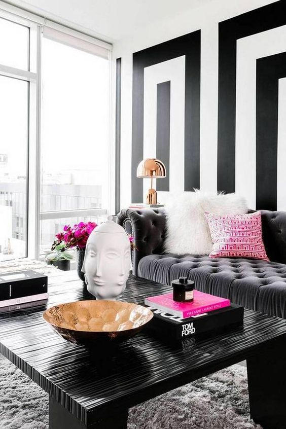 Salones con sof s de terciopelo - Black white and red bedroom decorating ideas ...