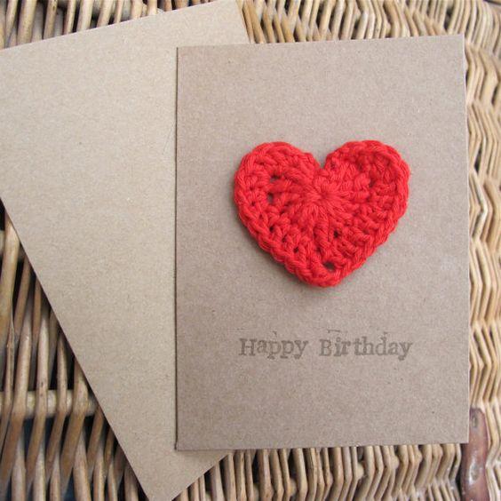 Tarjetas San Valentin decoradas con crochet