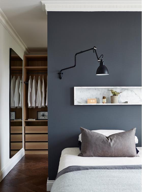 Un vestidor detrás de la cama. Decoración hogar, Decoralia.es