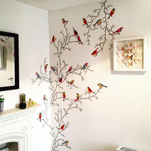 Inspiraci n vinilo ramas con p jaros ikea - Plantillas para pintar paredes ikea ...